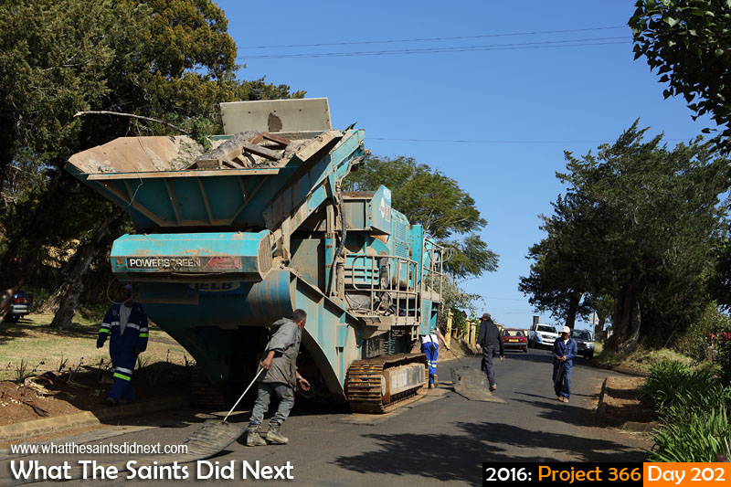 'Thigh fat'<br /> 20 July, 2016, 10:26 - 1/400, f/8, ISO-200<br /> Stone crusher being moved through the Avenue on its way to Horse Pasture.