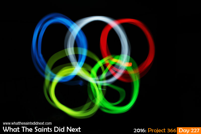 'All square'<br /> 14 August, 2016, 21:40 - 91sec, f14, ISO-200<br /> Using a mobile phone to trace the Olympic rings, inspired by Rio 2016.