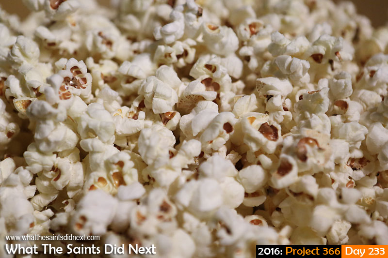 'Night Tube' 20 August 2016, 20:14 - 1/60, f2.8, ISO-1000 What The Saints Did Next - 2016 Project 366 Movie night popcorn.