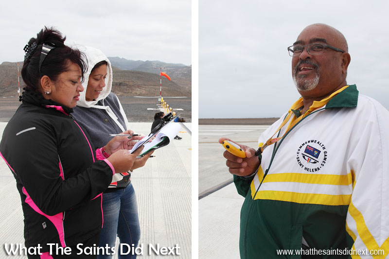 Time keepers making sure St Helena Airport's first ever runway dash is recorded accurately.