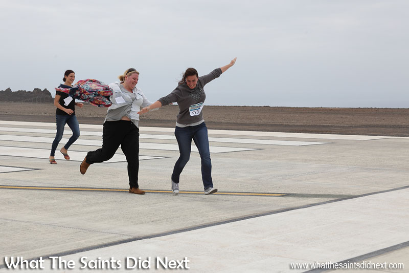 Flying over the finish line at the first ever St Helena Airport runway dash.