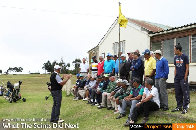 'Saint Theresa' 4 September 2016, 09:37 - 1/160, f9, ISO-200 What The Saints Did Next - 2016 Project 366 Last minute briefing for golfers taking part in the 2016 St Helena Golf Open in Longwood.