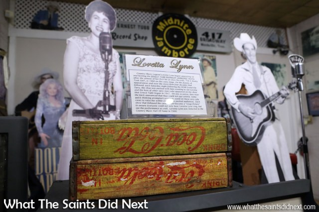 The Coca-Cola boxes Loretta Lynn stood on to be seen from the back of the Nashville shop during Midnite Jamboree shows. Loretta was such a fan of Ernest Tubb she named her eldest son after him, nine years before they had even met.