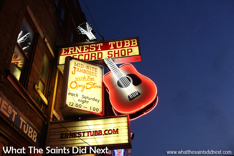 The neon lights of the legendary Ernest Tubb Record Shop on Broadway, Nashville.