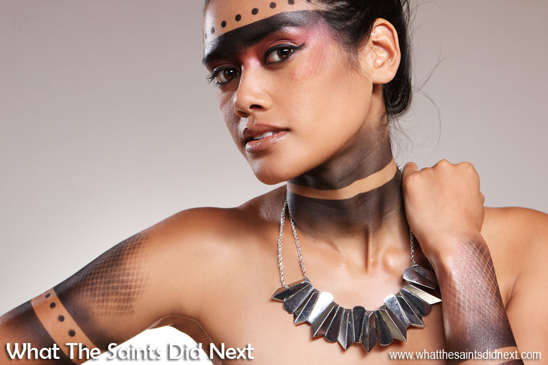 Celebrating International Day of Beauty on St Helena Island. Photoshoot by What The Saints Did Next Model, Jodi Wade; Photography, Darrin Henry; Make-up, Sharon Henry