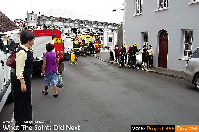 'Gaia'<br /> 14 September, 2016, 12:32 - 1/485, f2.4, ISO-50 - Samsung Galaxy A3<br /> Drama on the Bridge; fire department responds to reports of smoke in the Bank of St Helena and Tinkers shop.