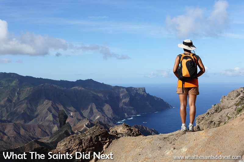 On a sunny afternoon the views from the ridge, looking over Sandy Bay, are spectacular. Blue Point post box walk, St Helena Island.