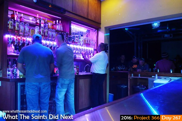 'Leap frog' 23 September 2016, 23:38 - 1/6, f3.3, ISO-400 - Panasonic Lumix What The Saints Did Next - 2016 Project 366 Donny's bar very busy on a Friday night in Jamestown, St Helena.
