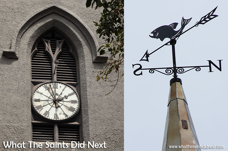 Left: The turret clock of St James that looks down onto the Parade Square in Jamestown. Right: A fish weather-vane tops the new spire, in honour of St James the fisherman, and is fitted with a lightning protection system. Although thunderstorms are now unheard off, the history books have recorded a number of occurrences. Back in the late 1800s thunderstorms and sheet lightning happened almost at an annual rate on St Helena. St James Church clock tower, Jamestown, St Helena.
