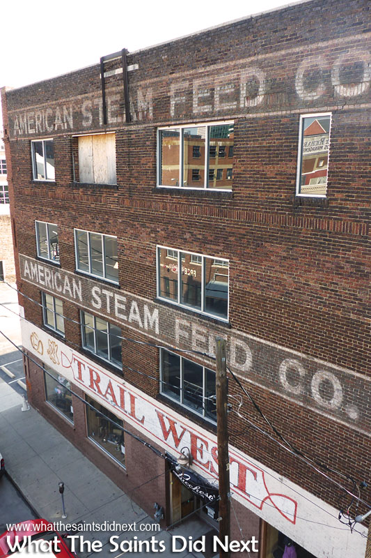 Street advertising signs that work, this Old American Steam Feed Company caught my eye in Nashville, Tennessee. Ghost signs in America.