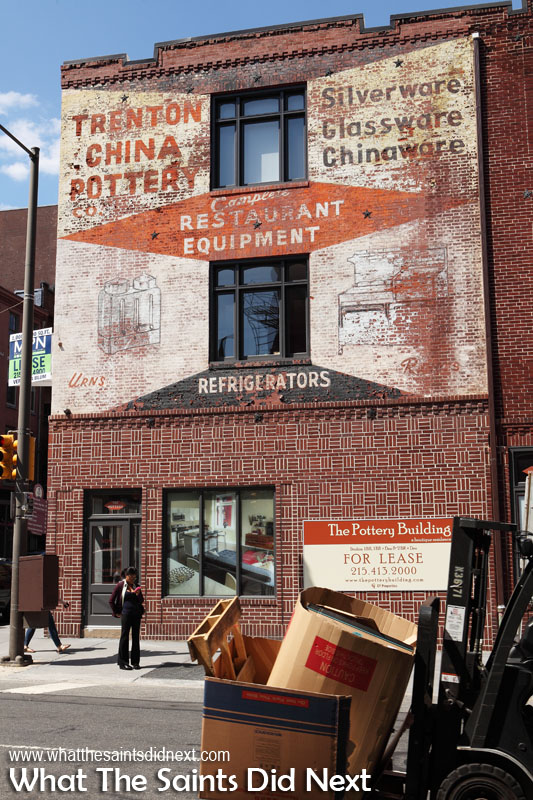 Classic old advertising posters from Trenton China Potter Co offering complete restaurant equipment, silverware, glassware and chinaware.