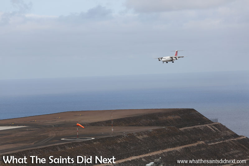 Final approach on the southern end of the airport, the Avro RJ100 preparing to land at runway 02 at St Helena. The Atlantic Star Airlines demonstrating the aircraft's capabilities.