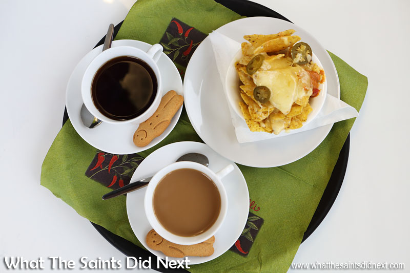 Coffee and nachos in the St Helena airport cafe as we wait for the Atlantic Star press conference to begin. Very nice.