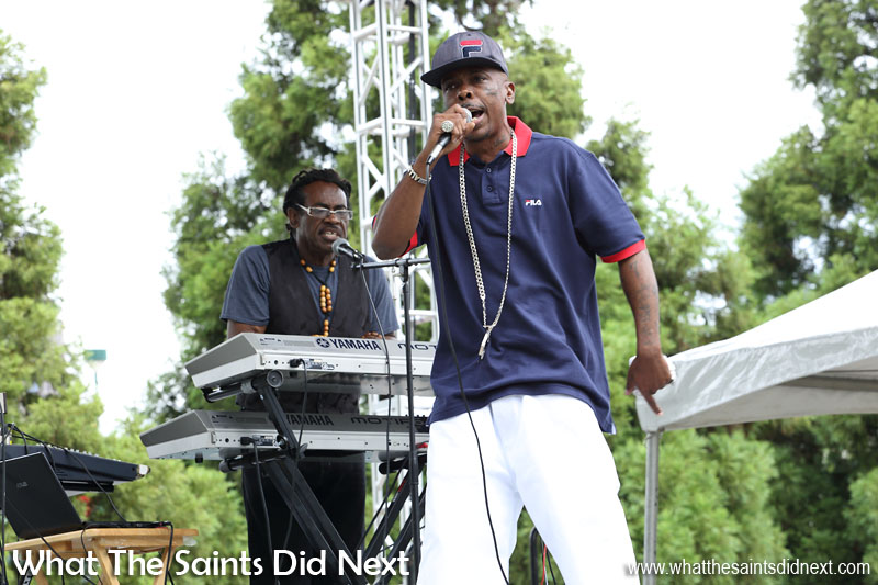 A rap artist, putting on a show in Centennial Park, Atlanta, Georgia. This singer wrote all his own songs, all with a religious theme. Very talented and enjoyable to watch. International Artist Day 2016.