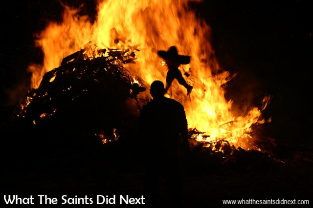 Remember, remember, the 5th of November... Guy Fawkes sent flying onto the burning heap. Sandy Bay, St Helena Guy Fawkes Day and Bonfire Night.