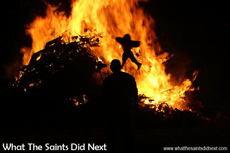 Remember, remember, the 5th of November... Guy Fawkes sent flying onto the burning heap.  Bonfire night in Sandy Bay, St Helena Island.