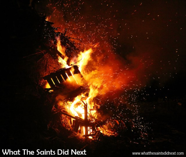 A spectacular bonfire in Sandy Bay for Guy Fawkes Day. Bonfire night in Sandy Bay, St Helena Island.