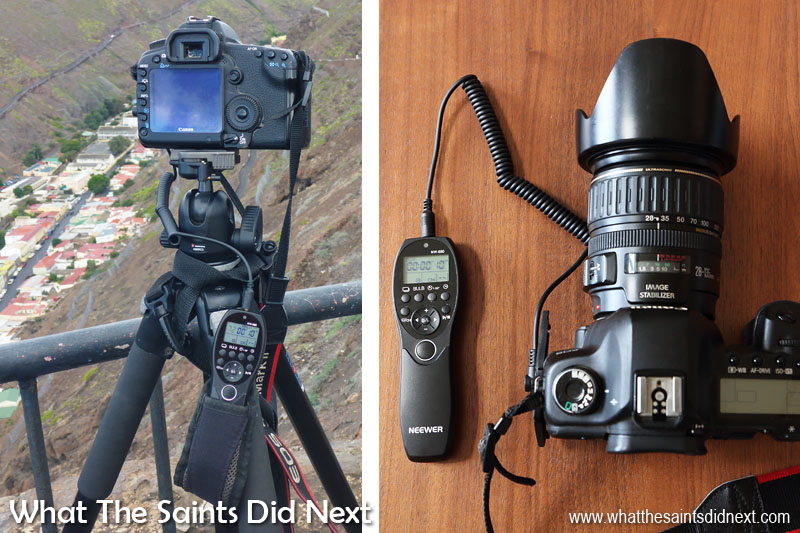 Gift ideas for photographers - Neewer Camera Wired Timer Remote Control. On the left this is the Neewer timer in action, shooting a time-lapse sequence. Right, how the remote connects to the Canon 5D.
