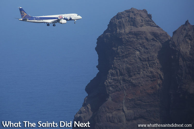 Embraer E190 St Helena Airport flight trials. The Embraer E190 on northern approach to runway 20, flying past the headland of King and Queen Rock.