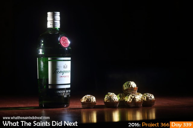 'Scoop' 4 December 2016, 21:26 - 1/125, f8, ISO-100 + flash What The Saints Did Next - 2016 Project 366 Gin and chocolates.
