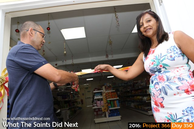 'UK threesome' 15 December 2016, 09:42 - 1/125, f10, ISO-200 + flash What The Saints Did Next - 2016 Project 366 Anthony and Di Essex, opening their new A&D's Mini Mart in Half Tree Hollow.