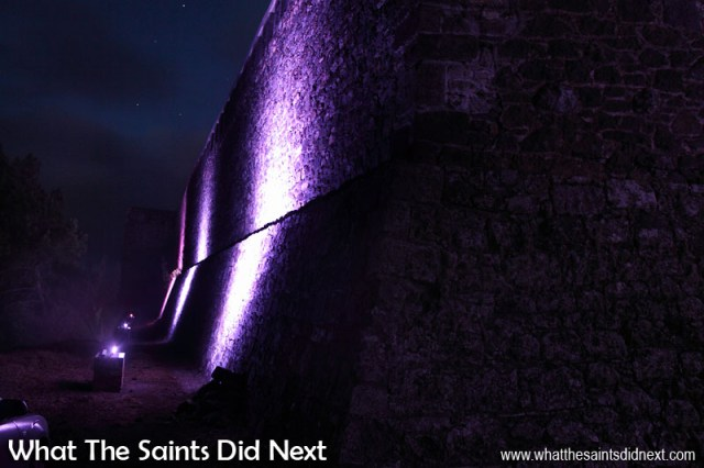The 22 LED lighting strips are mounted on specially built stone plinths, shining up onto the old fortifications. High Knoll Fort lights, St Helena.