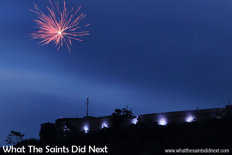 Fireworks to mark the official switching on night. High Knoll Fort lights, St Helena.