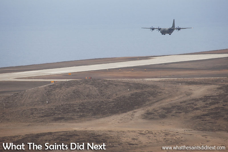 Making a low pass over St Helena Airport using the southern, runway 02 approach. RAF, C130 Hercules at St Helena Airport.