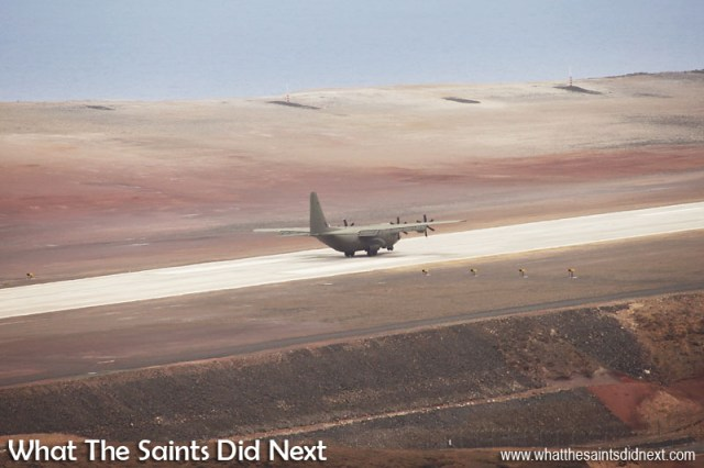 On the ground at 13:24, Sunday 18 December, 2016. RAF, C130 Hercules at St Helena Airport.