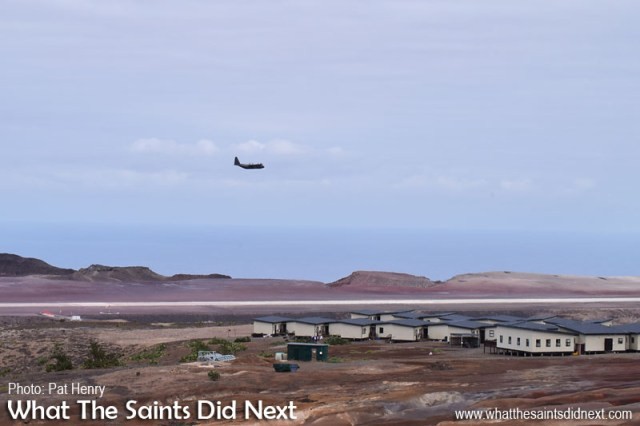 The fly over on the first pass from Bradley's, photographed by Pat Henry. RAF, C130 Hercules at St Helena Airport.