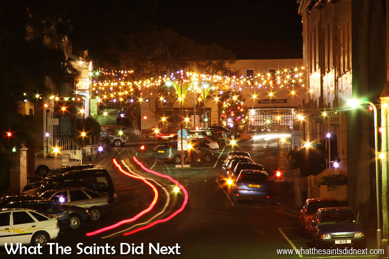 Street Lights In Jamestown Fairy lights always seem to have a magical effect on Jamestown. Strings of coloured bulbs criss-cross the lower streets for this special time of year, lifting spirits and luminosity of the island's capital. This shot is looking up Main Street, Christmas 2008.