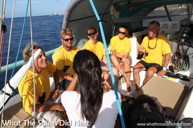 Blogging has taken us onto a whole range of boats, yachts and ships that visit St Helena. This is on board the yacht, Black Cat, which won the Governor's Cup 2014/15. Sharon is busy interviewing five crew members about their winning experience. Click to view 'Black Cat, Champion Race Yacht.'