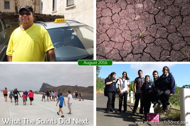 St Helena 2016: The Year In Review - August Clockwise from top left: New 24/7 taxi service begins operating. St Helena in drought after poor rainy season. Secondary school students from Longwood. First ever runway dash at St Helena Airport.