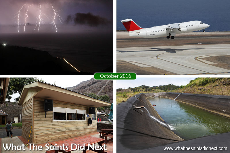 St Helena 2016: The Year In Review - October Clockwise from top left: A freak thunder and lightning storm off the coast of St Helena. Atlantic Star Airlines land an Avro RJ100 on St Helena to demonstrate its capability in high winds. Reservoirs run low across the island as the drought continues. A new wood facade for the Mule Yard bar.