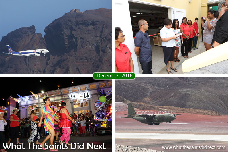 St Helena 2016: The Year In Review - December Clockwise from top left: Embraer E190 carries out test circuits and landings at St Helena Airport. Anthony and Di Essex's new mini-mart opens in Half Tree Hollow. RAF C-130 Hercules completes a successful visit to St Helena. Festival of Lights through Jamestown is another huge Christmas success.