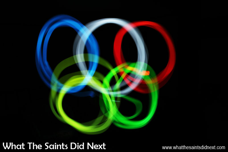 Photography Project 366 - Day 227. The Rio 2016 Olympics inspired us to shoot the famous rings using a colour light app on the mobile phone. This was a 91 second exposure to give us time to change colours, move and trace each circle in the air.