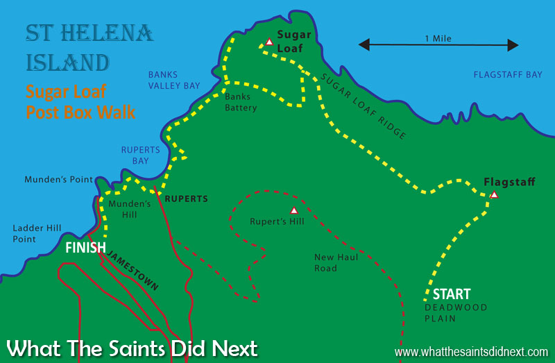 We've sketched a basic St Helena map of this walk to Sugar Loaf Post Box, the route marked by the yellow dashed line. The starting point is Deadwood Plain, up to Flagstaff, down to Sugar Loaf, down to Banks Battery, then along the coastal path to Rupert's, then Munden's, finishing in Jamestown.