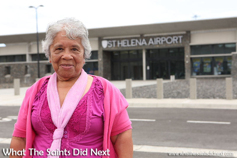 "First time flyer at age 73, Ivy Yon. ""Yes, it was my first time to fly and it was beautiful."" Flying from St Helena Airport."