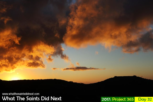 'The Bicorne' 1 February 2017, 18:56 - 1/400, f8, ISO-200 What The Saints Did Next - 2016 Project 365. High Knoll Fort against a fiery St Helena summer sunset.