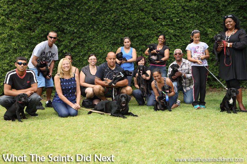 Getting the band back together. Puppies, new owners, Dusty and Governor Lisa Phillips at the end of the training session. New Dogs, Old Tricks - Dusty's Dozen.