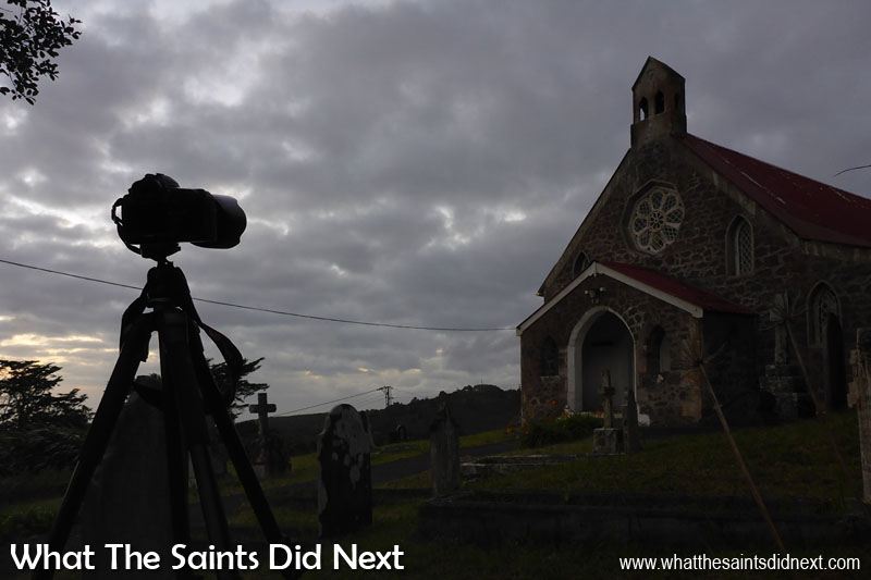 Standing in a graveyard for sunrise - this is the setup at St Matthew's Church, St Helena, at 6.37am hoping for lovely morning light that never quite made it through the clouds.
