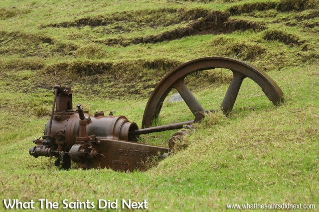 Old rusting remains of a flax mill that once operated in Levelwood. Time-Lapse St Helena: Cyril Legg