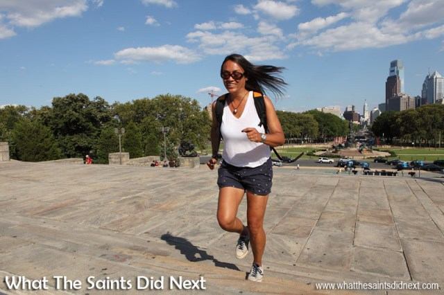 What The Saints Did Next running up the Rocky Steps in Philadelphia