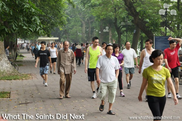 Early morning exercise in Hanoi.