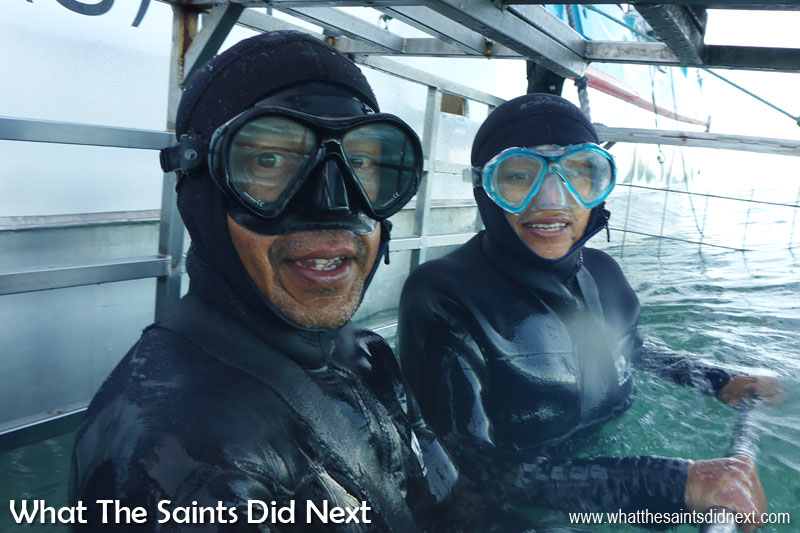 Our turn for a Great White Shark cage diving close encounter. This was a look of cold not fear. Honest!