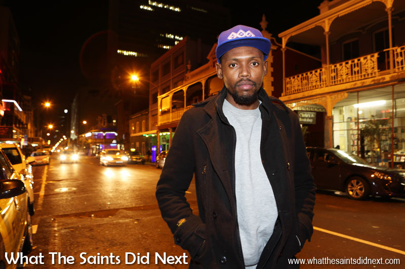People of Cape Town: Film-maker, writer, poet and music artist, Tshepo, on Long Street. Check out Tshepo's awesome videos on 'Dusty Town TV' on YouTube.