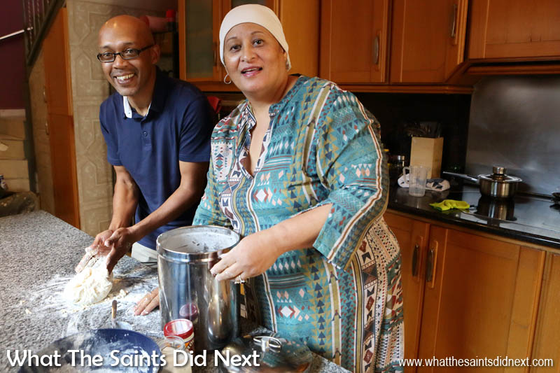 Learning to cook Cape Malay food in Faeeza's kitchen.