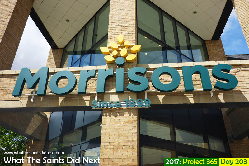 The grand entranceway to Morrisons supermarket.