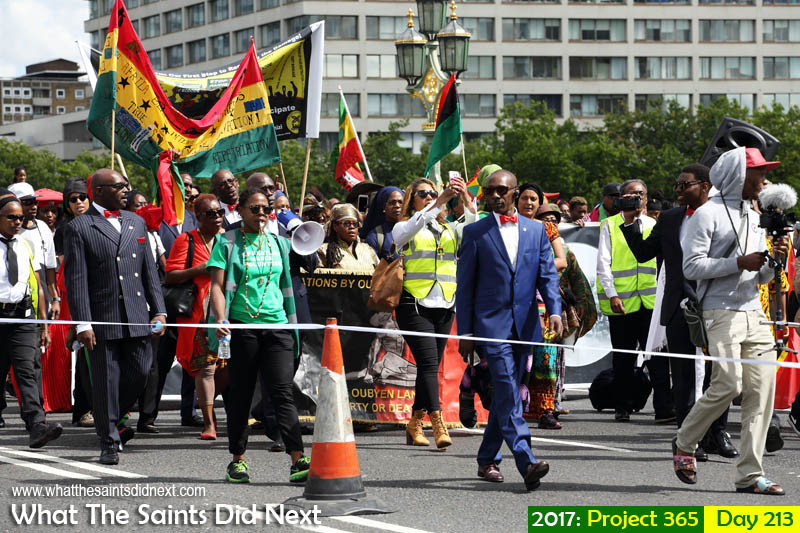 Afrikan Emancipation Day Reparations March crossing Westminster Bridge, London.