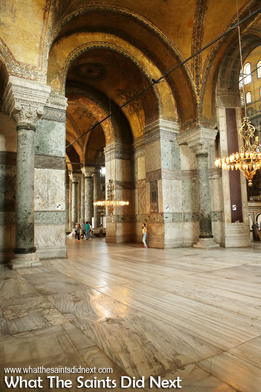 Look at the woman in the yellow top. This picture gives a great sense of the sheer size of the Hagia Sophia in Istanbul.